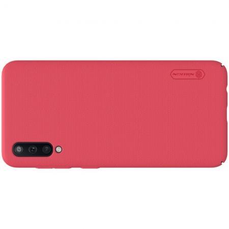 Пластиковый нескользящий NILLKIN Frosted кейс чехол для Samsung Galaxy A50 Красный + подставка