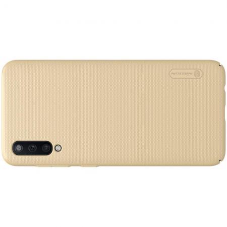 Пластиковый нескользящий NILLKIN Frosted кейс чехол для Samsung Galaxy A50 Золотой + подставка