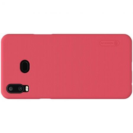 Пластиковый нескользящий NILLKIN Frosted кейс чехол для Samsung Galaxy A6s Красный + защитная пленка