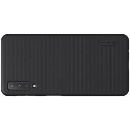 Пластиковый нескользящий NILLKIN Frosted кейс чехол для Samsung Galaxy A7 2018 SM-A750 Черный + защитная пленка