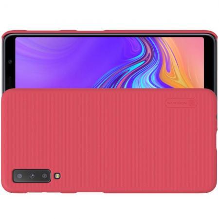 Пластиковый нескользящий NILLKIN Frosted кейс чехол для Samsung Galaxy A7 2018 SM-A750 Красный + защитная пленка