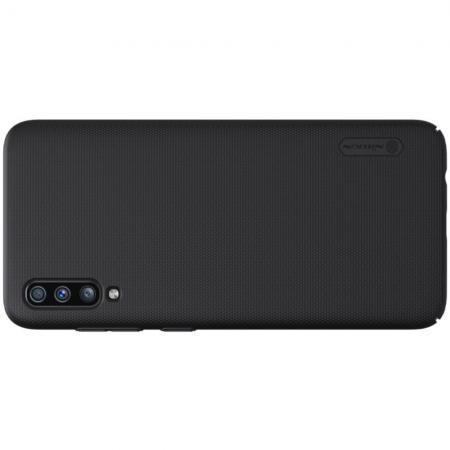 Пластиковый нескользящий NILLKIN Frosted кейс чехол для Samsung Galaxy A70 Черный + подставка