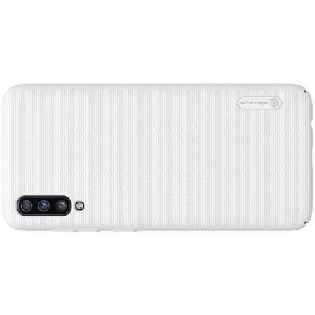 Пластиковый нескользящий NILLKIN Frosted кейс чехол для Samsung Galaxy A70 Белый + подставка