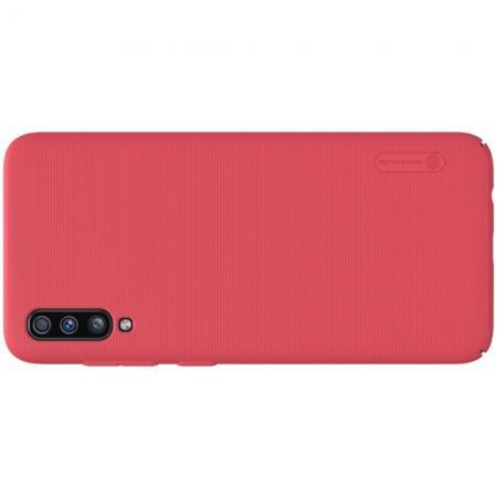 Пластиковый нескользящий NILLKIN Frosted кейс чехол для Samsung Galaxy A70 Красный + подставка