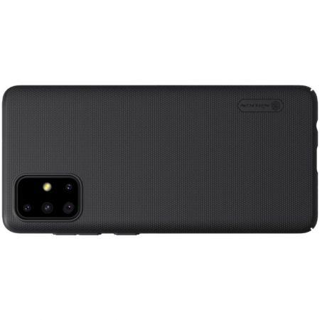 Пластиковый нескользящий NILLKIN Frosted кейс чехол для Samsung Galaxy A71 Черный + подставка