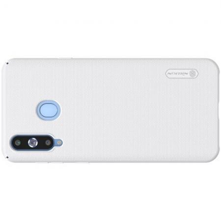 Пластиковый нескользящий NILLKIN Frosted кейс чехол для Samsung Galaxy A8s Белый + защитная пленка