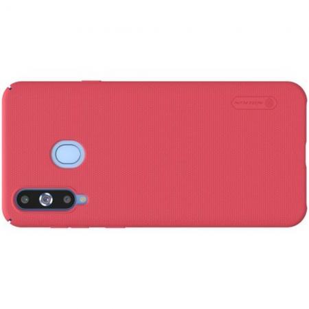 Пластиковый нескользящий NILLKIN Frosted кейс чехол для Samsung Galaxy A8s Красный + защитная пленка
