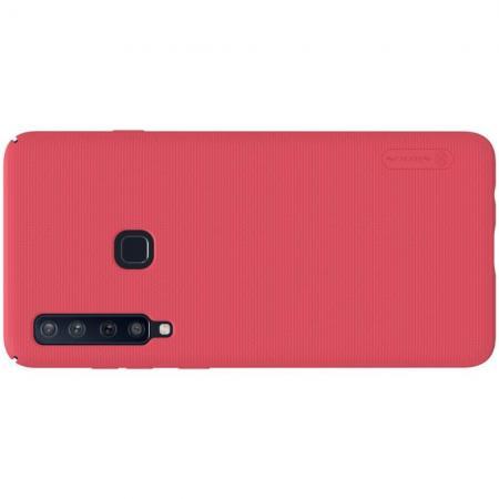 Пластиковый нескользящий NILLKIN Frosted кейс чехол для Samsung Galaxy A9 2018 SM-A920F Красный + защитная пленка