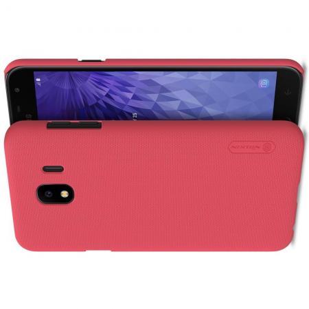 Пластиковый нескользящий NILLKIN Frosted кейс чехол для Samsung Galaxy J4 2018 SM-J400 Красный + защитная пленка