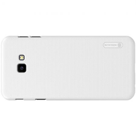 Пластиковый нескользящий NILLKIN Frosted кейс чехол для Samsung Galaxy J4 Plus SM-J415 Белый + защитная пленка