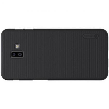 Пластиковый нескользящий NILLKIN Frosted кейс чехол для Samsung Galaxy J6 Plus 2018 SM-J610F Черный + Подставка
