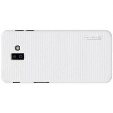 Пластиковый нескользящий NILLKIN Frosted кейс чехол для Samsung Galaxy J6 Plus 2018 SM-J610F Белый + защитная пленка