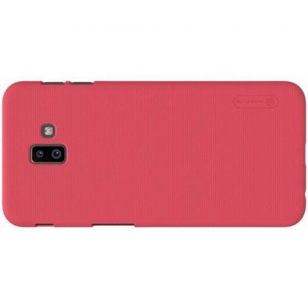 Пластиковый нескользящий NILLKIN Frosted кейс чехол для Samsung Galaxy J6 Plus 2018 SM-J610F Красный + защитная пленка