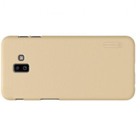 Пластиковый нескользящий NILLKIN Frosted кейс чехол для Samsung Galaxy J6 Plus 2018 SM-J610F Золотой + защитная пленка