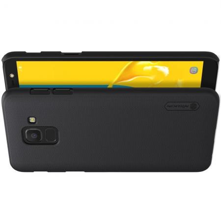Пластиковый нескользящий NILLKIN Frosted кейс чехол для Samsung Galaxy J6 SM-J600 Черный + защитная пленка