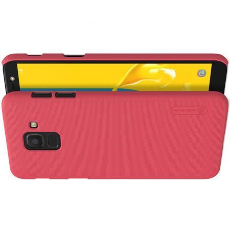 Пластиковый нескользящий NILLKIN Frosted кейс чехол для Samsung Galaxy J6 SM-J600 Красный + защитная пленка