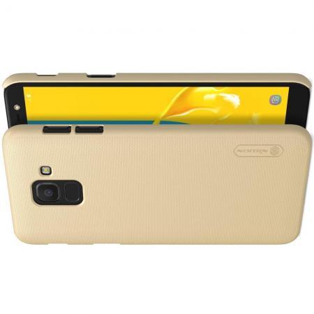 Пластиковый нескользящий NILLKIN Frosted кейс чехол для Samsung Galaxy J6 SM-J600 Золотой + защитная пленка