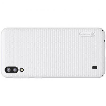 Пластиковый нескользящий NILLKIN Frosted кейс чехол для Samsung Galaxy M10 Белый + подставка