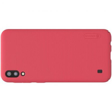 Пластиковый нескользящий NILLKIN Frosted кейс чехол для Samsung Galaxy M10 Красный + подставка