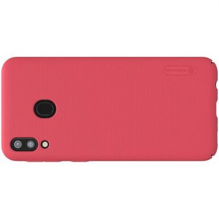 Пластиковый нескользящий NILLKIN Frosted кейс чехол для Samsung Galaxy M20 Красный + подставка