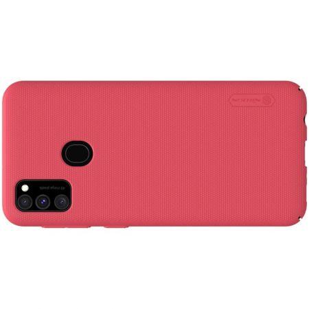 Пластиковый нескользящий NILLKIN Frosted кейс чехол для Samsung Galaxy M30s Красный + подставка