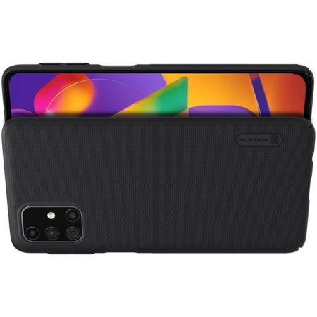 Пластиковый нескользящий NILLKIN Frosted кейс чехол для Samsung Galaxy M31s Черный + подставка