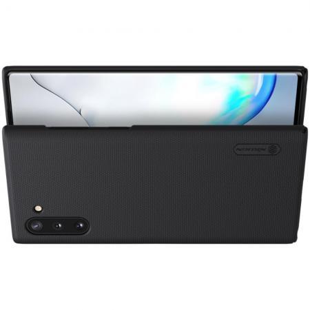 Пластиковый нескользящий NILLKIN Frosted кейс чехол для Samsung Galaxy Note 10 Черный + подставка