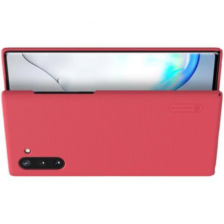Пластиковый нескользящий NILLKIN Frosted кейс чехол для Samsung Galaxy Note 10 Красный + подставка