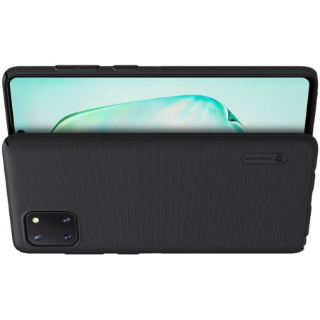 Пластиковый нескользящий NILLKIN Frosted кейс чехол для Samsung Galaxy Note 10 Lite Черный + подставка