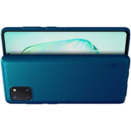 Пластиковый нескользящий NILLKIN Frosted кейс чехол для Samsung Galaxy Note 10 Lite Синий + подставка