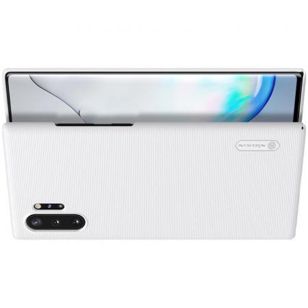 Пластиковый нескользящий NILLKIN Frosted кейс чехол для Samsung Galaxy Note 10 Plus Белый + подставка