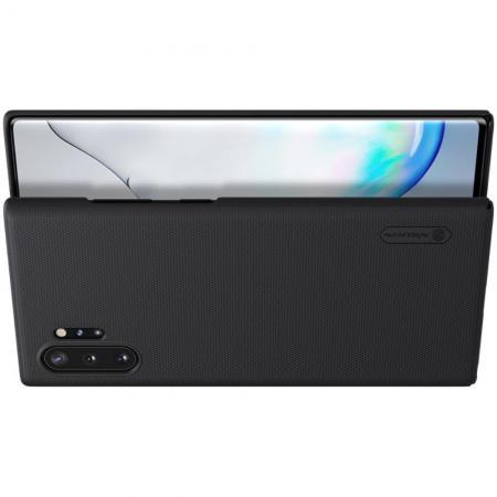 Пластиковый нескользящий NILLKIN Frosted кейс чехол для Samsung Galaxy Note 10 Plus Черный + подставка