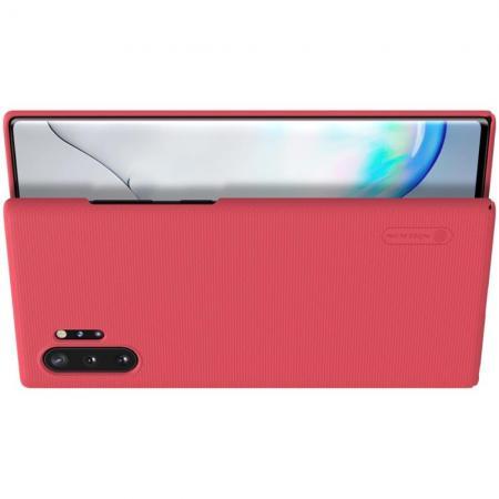 Пластиковый нескользящий NILLKIN Frosted кейс чехол для Samsung Galaxy Note 10 Plus Красный + подставка