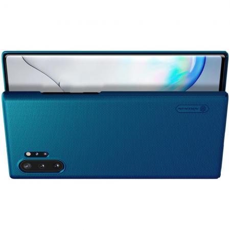 Пластиковый нескользящий NILLKIN Frosted кейс чехол для Samsung Galaxy Note 10 Plus Синий + подставка