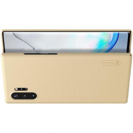 Пластиковый нескользящий NILLKIN Frosted кейс чехол для Samsung Galaxy Note 10 Plus Золотой + подставка