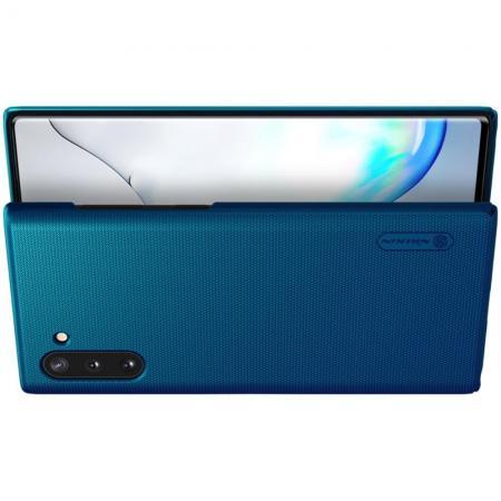 Пластиковый нескользящий NILLKIN Frosted кейс чехол для Samsung Galaxy Note 10 Синий + подставка