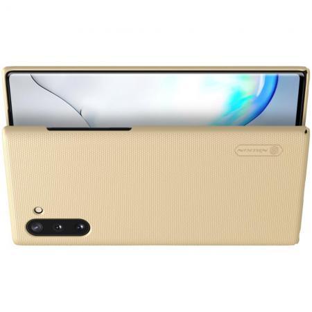 Пластиковый нескользящий NILLKIN Frosted кейс чехол для Samsung Galaxy Note 10 Золотой + подставка