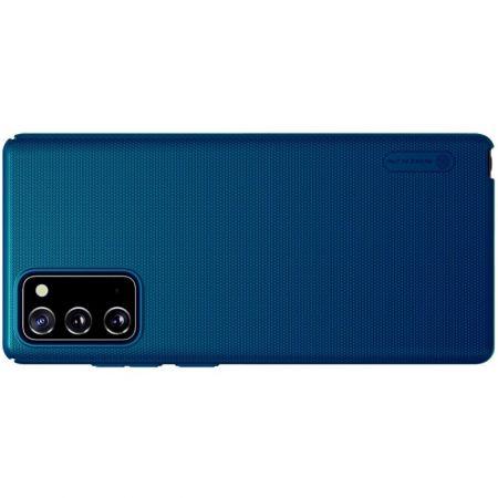 Пластиковый нескользящий NILLKIN Frosted кейс чехол для Samsung Galaxy Note 20 Синий + подставка