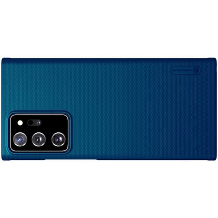 Пластиковый нескользящий NILLKIN Frosted кейс чехол для Samsung Galaxy Note 20 Ultra Синий + подставка