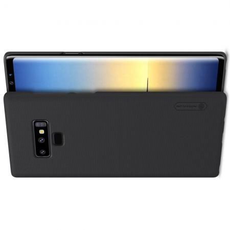 Пластиковый нескользящий NILLKIN Frosted кейс чехол для Samsung Galaxy Note 9 Черный + подставка