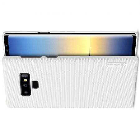 Пластиковый нескользящий NILLKIN Frosted кейс чехол для Samsung Galaxy Note 9 Белый + защитная пленка
