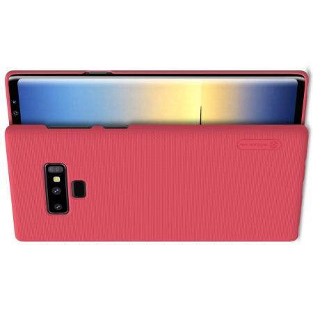 Пластиковый нескользящий NILLKIN Frosted кейс чехол для Samsung Galaxy Note 9 Красный + защитная пленка