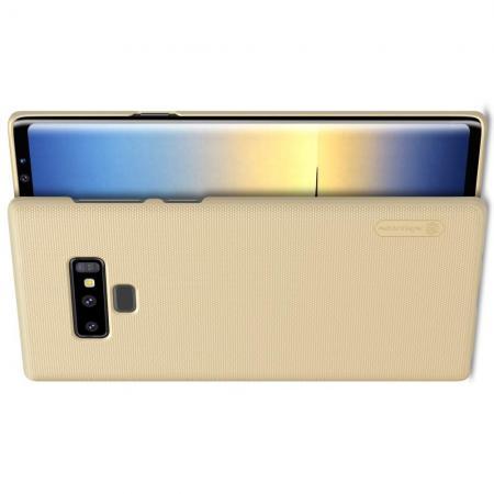 Пластиковый нескользящий NILLKIN Frosted кейс чехол для Samsung Galaxy Note 9 Золотой + подставка