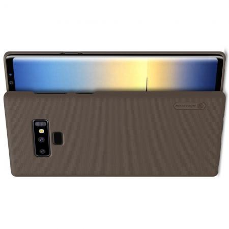 Пластиковый нескользящий NILLKIN Frosted кейс чехол для Samsung Galaxy Note 9 Коричневый + защитная пленка