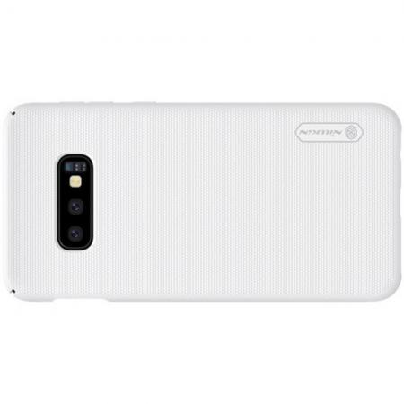 Пластиковый нескользящий NILLKIN Frosted кейс чехол для Samsung Galaxy S10e Белый + защитная пленка