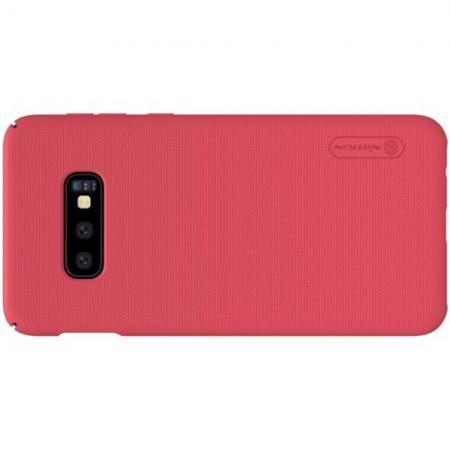 Пластиковый нескользящий NILLKIN Frosted кейс чехол для Samsung Galaxy S10e Красный + защитная пленка