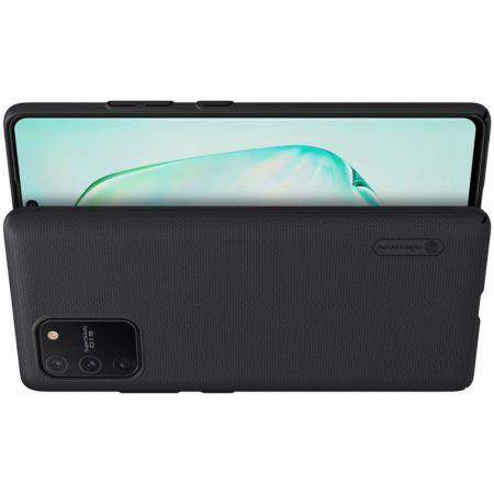Пластиковый нескользящий NILLKIN Frosted кейс чехол для Samsung Galaxy S10 Lite Черный + подставка