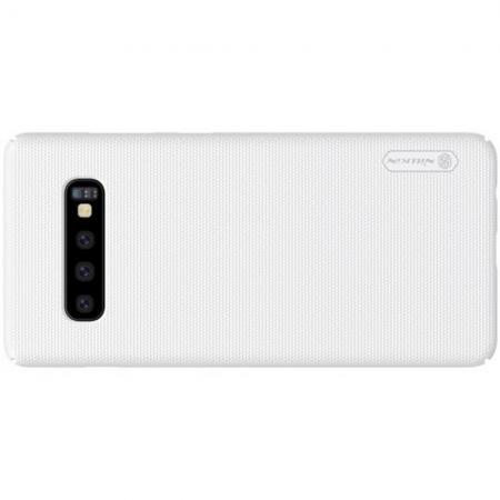 Пластиковый нескользящий NILLKIN Frosted кейс чехол для Samsung Galaxy S10 Plus Белый + защитная пленка