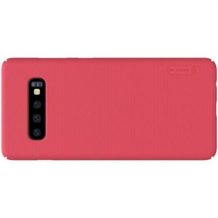 Пластиковый нескользящий NILLKIN Frosted кейс чехол для Samsung Galaxy S10 Plus Красный + защитная пленка