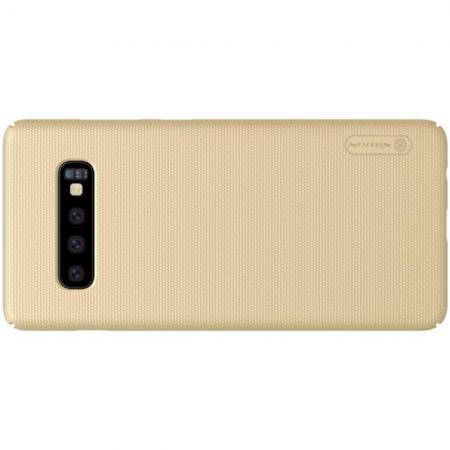 Пластиковый нескользящий NILLKIN Frosted кейс чехол для Samsung Galaxy S10 Plus Золотой + защитная пленка